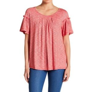 Max studio front pleat flutter sleeve top NWT